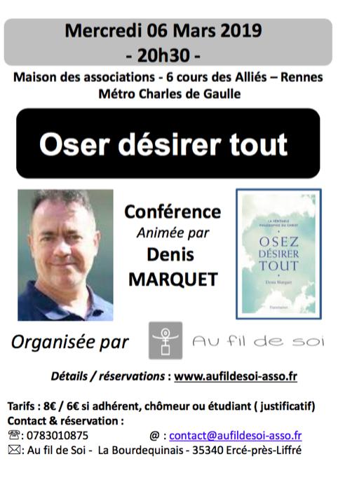 Conférence Rennes : Mercredi 6 mars 2019 à 20h30