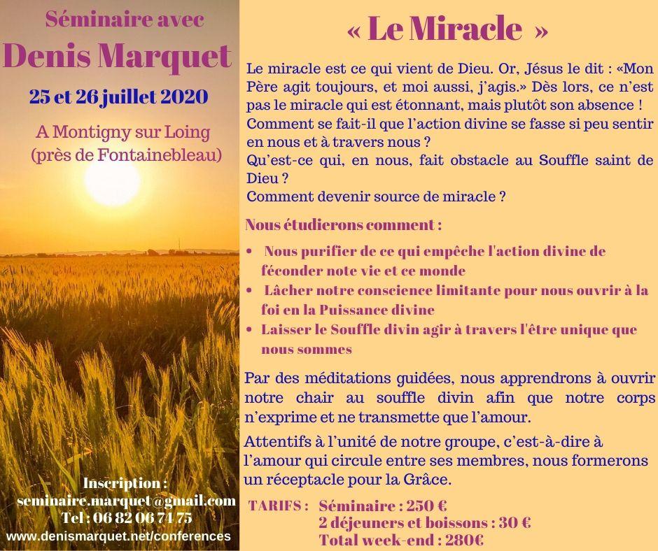 Séminaire 25 et 26 juillet 2020 : Le Miracle